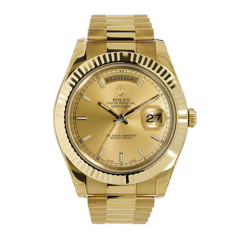 Rolex Day Date Ii 41mm 18k Yellow Gold Champagne Dial 218238