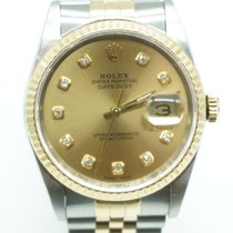 Rolex Datejust 36 Diamond Champagne Dial Box & Papers 1989