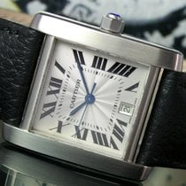 Cartier Tank Française Steel Mens Watch Ref. 2302 Guilloche Dial