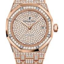 Audemars Piguet nou Atomat Secunda centrala Decorare cu pietre prețioase și diamante 37mm Aur roz Sticlă de safir