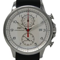 IWC Portuguese Yacht Club Chronograph pre-owned 45mm Silver Chronograph Date Rubber