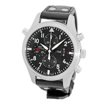 IWC Pilot Double Chronograph pre-owned 46mm Black Double chronograph Crocodile skin