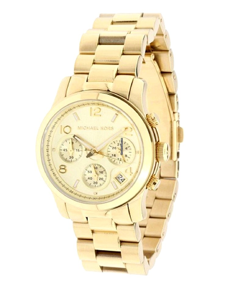 Tone Dial Runway Yellow Watch Michael Chronograph Unisex Mk5055 Gold Kors Jc13TlFK