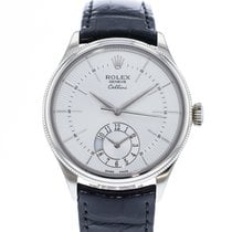 Rolex Cellini Dual Time pre-owned 39mm Silver Leather