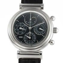 IWC Da Vinci Perpetual Calendar pre-owned 39mm Black Moon phase Chronograph Perpetual calendar Leather