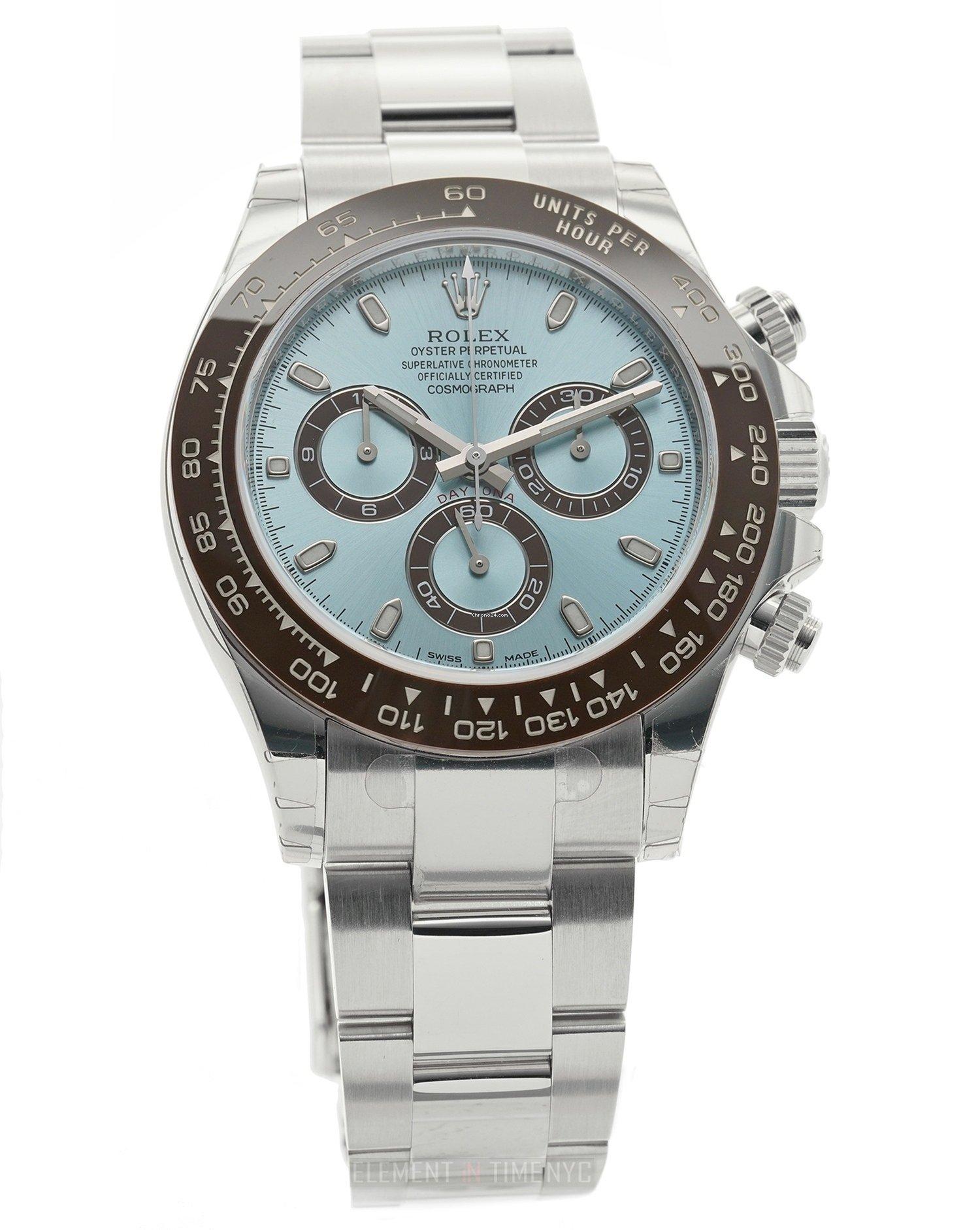 Rolex Daytona Platinum Brown Ceramic Bezel Ice Blue Dial for