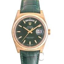 ロレックス (Rolex) Day-Date Green 18k Yellow Gold/Leather Ø36 mm -...