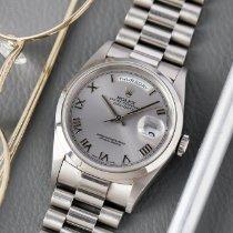 Rolex Day-Date Platina 36mm Srebro Rimski brojevi