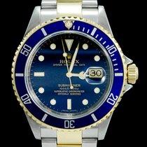 Rolex Submariner Date Or/Acier 40mm Bleu Sans chiffres
