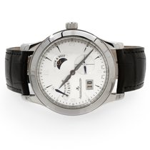 Jaeger-LeCoultre Master Eight Days pre-owned 42mm Silver Moon phase Date Leather
