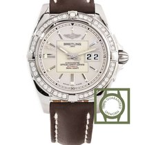 Breitling Galactic 41mm Diamond Bezel Silver Dial Brown...