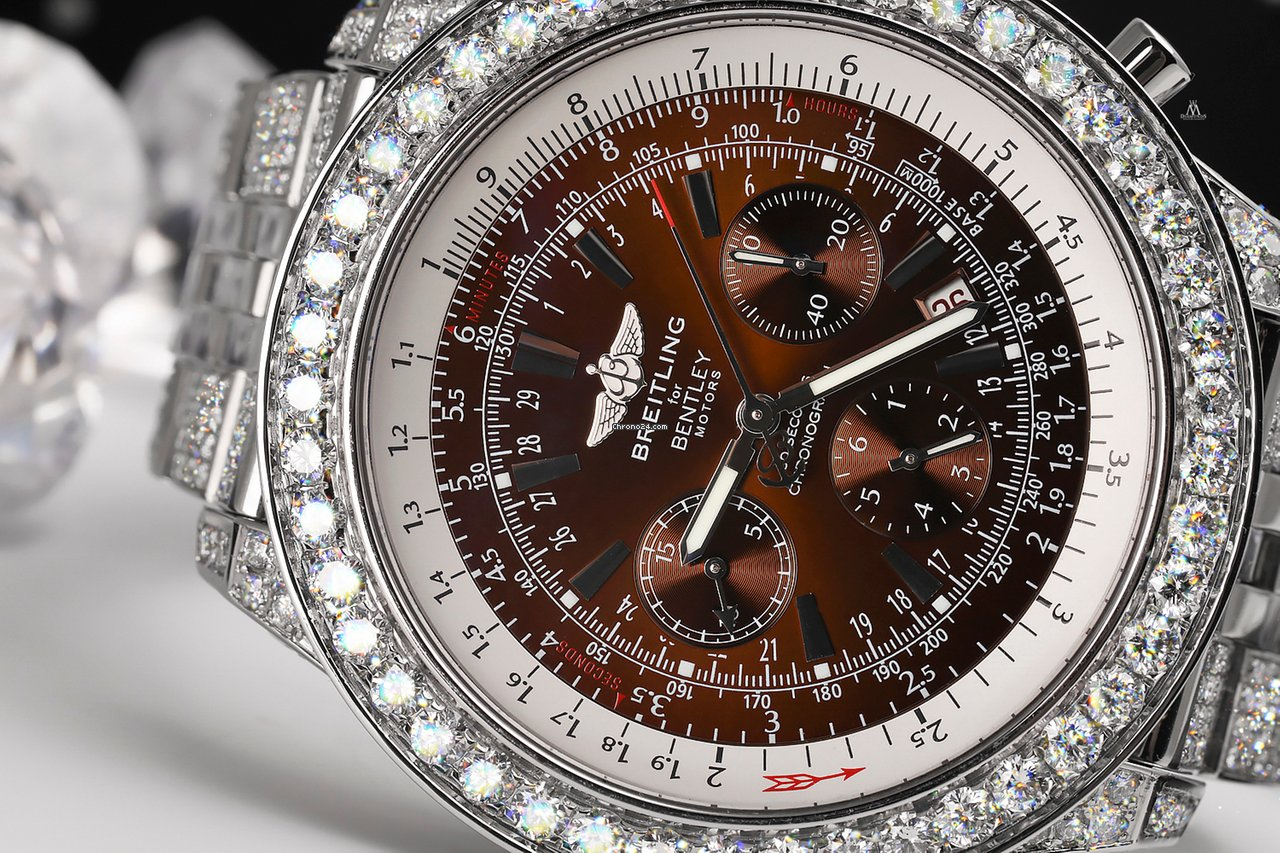 Breitling Bentley Motors A25362 Bronze Dial Ss Iced Out Diamond Watch
