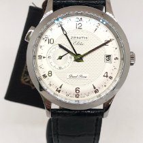 Zenith Steel Automatic Silver Arabic numerals 39mm new Elite Dual Time