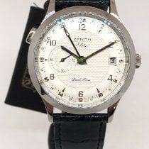 Zenith Elite Dual Time Steel 39mm Silver Arabic numerals