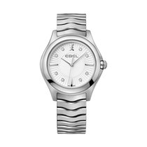 Ebel Wave 1216302EBEL WAVE Grande 35mm acciaio quadr argento diamanti new