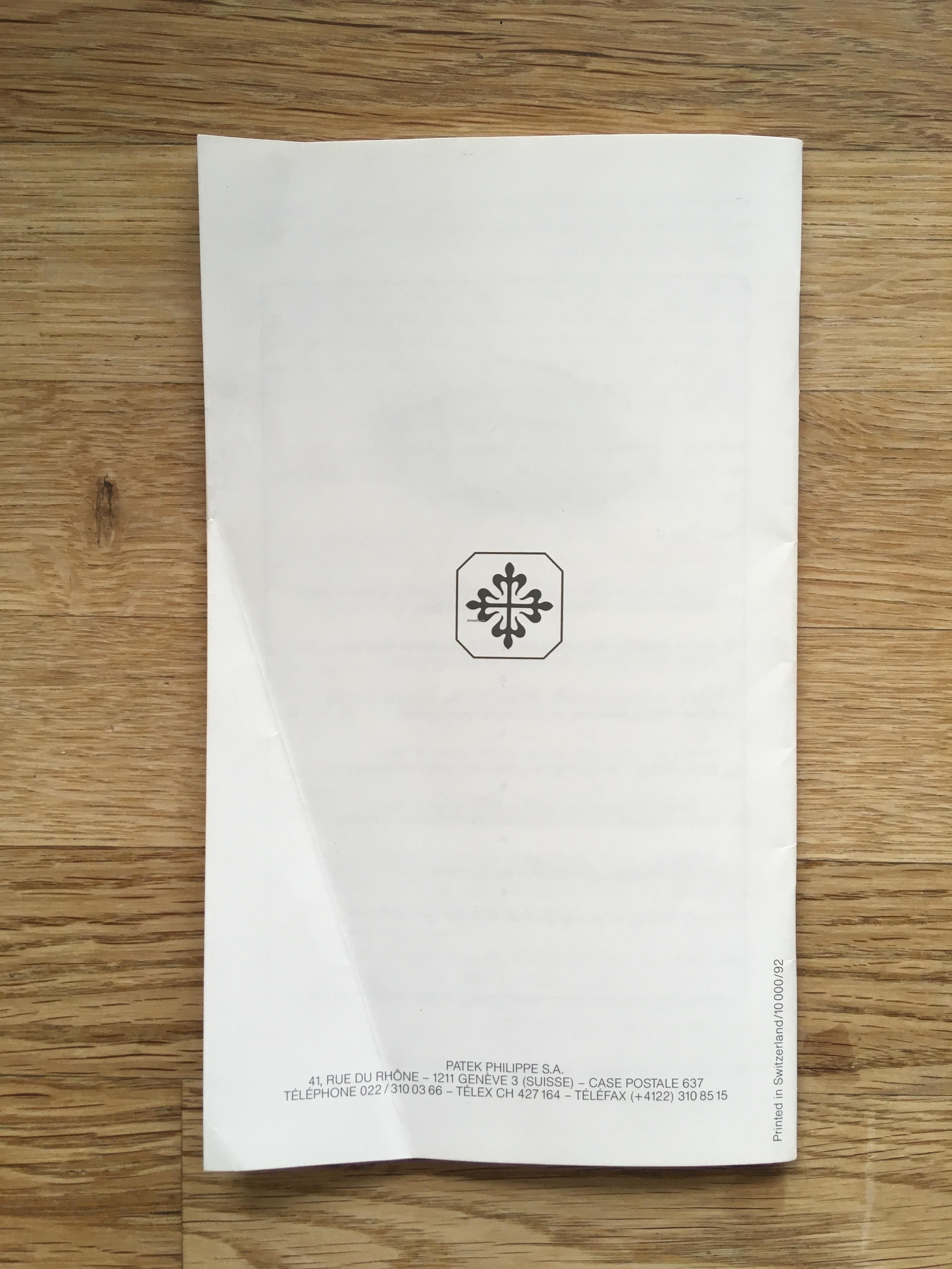 Acalendar Anleitung patek philippe manual anleitung ref. 3448, 3450, 2499 and