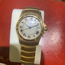 Cartier Yellow gold Automatic Silver Roman numerals 33mm pre-owned Santos Galbée