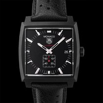 TAG Heuer Steel Automatic Black 37.00mm new Monaco Calibre 6
