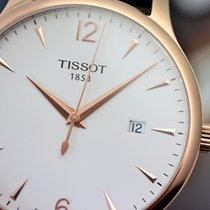 Tissot Tradition Quartz PVD Rose Gold Brown Leather Men's...