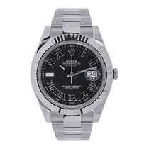 Rolex Datejust II 41 White Gold Bezel Black Roman Dial...