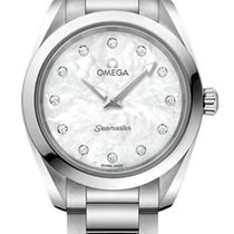 Omega Steel Quartz Mother of pearl No numerals 28mm new Seamaster Aqua Terra