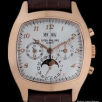 Patek Philippe Rose gold Manual winding Silver Arabic numerals 37mm pre-owned Perpetual Calendar Chronograph