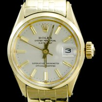 Rolex Oyster Perpetual Lady Date Or jaune 26mm Blanc Sans chiffres