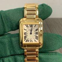 Cartier Gelbgold Quarz Silber Römisch 30.2mm gebraucht Tank Anglaise