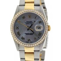 Rolex Date Men's 36mm Black Mother Of Pearl Dial Stainless...