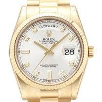 Rolex Day-Date 36 18 kt Gelbgold Ref. 118238 Silber DIA