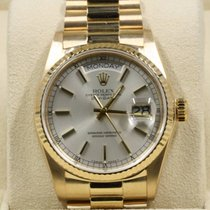 Rolex Day-Date 18038 18K Gold With Silver Index Dial