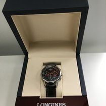 Longines Column-Wheel Chronograph pre-owned Black Chronograph Date Crocodile skin