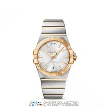 Omega Constellation Day-Date Acero y oro 38mm Plata Sin cifras