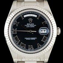 Rolex 18k W/G Unworn O/P Black Roman Dial Day-Date II B&P...