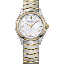 Ebel Wave 1216197 EBEL LADY QUARTZ STEEL GOLD STRAP PEARL DIAMONDS new