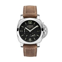 Panerai PAM00537, Luminor 1950, Black Dial, Steel and Leather