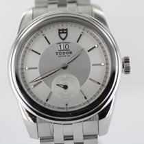 Tudor Glamour Double Date pre-owned 42mm Silver Date Leather