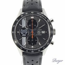 TAG Heuer Carrera Calibre 16 pre-owned 41mm Grey Chronograph Date Tachymeter Leather