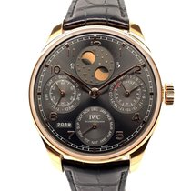 IWC Red gold Automatic Grey Arabic numerals 44.2mm pre-owned Portuguese Perpetual Calendar