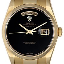 Rolex President Day-Date Men's 18k Yellow Gold Watch Black...