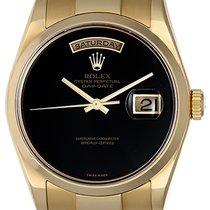 Rolex President Day-Date 18k Watch Black Onyx Dial 118208