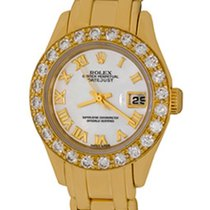Rolex Oro amarillo Automático Madreperla Romanos 28mm usados Lady-Datejust Pearlmaster