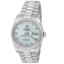 Rolex Day-Date 36 pre-owned 36mm Blue Date Weekday Platinum