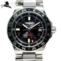 Breitling Superocean GMT Stahl 41mm Schwarz