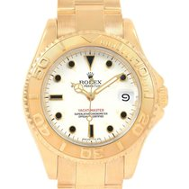 Rolex Yellow gold Automatic White 35mm pre-owned Yacht-Master