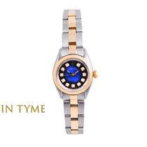 Rolex Ladies 18K/SS Oyster Perpetual - Blue Vignette Diamond...