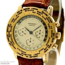 Andersen Genève Worldtimer Chronograph 18k Yellow Gold Bj-1999...