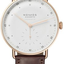 NOMOS Or rose Remontage automatique Blanc Arabes 38.5mm nouveau Metro Neomatik