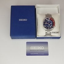 Seiko Prospex Automatic Diver Silvertone Watch with Blue Bezel