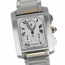 Cartier Tank Française pre-owned 37mm White Date Fold clasp